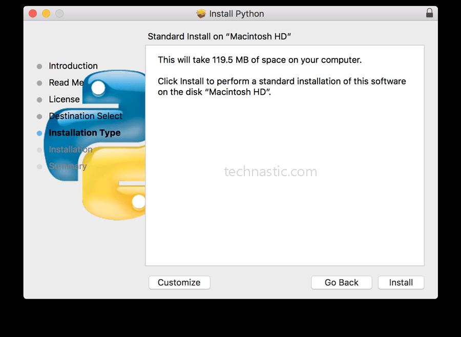 install python on mac