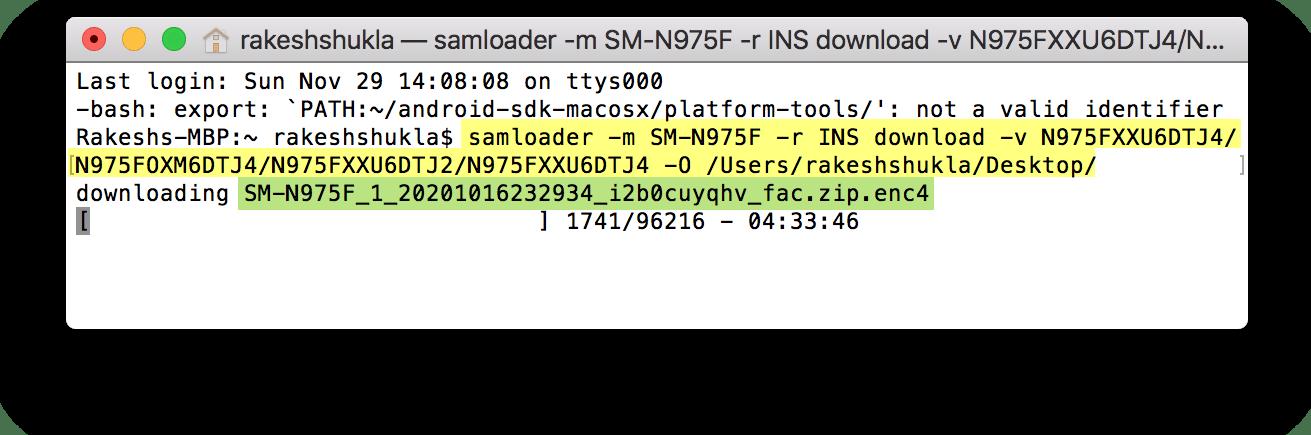samloader download firmware on macos