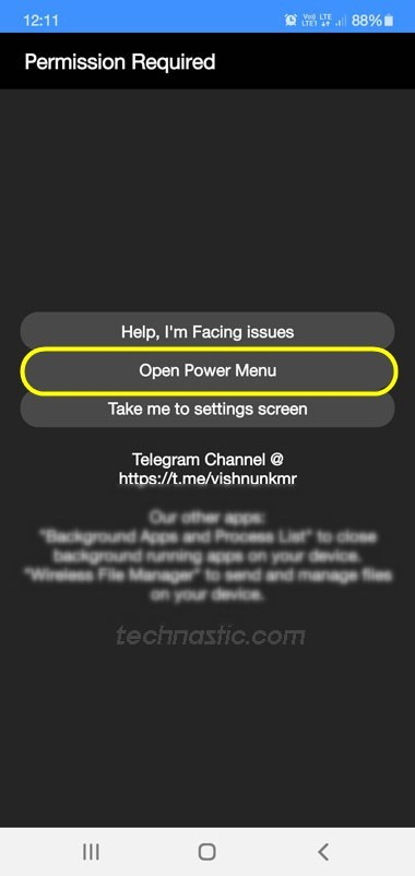 Power menu app android