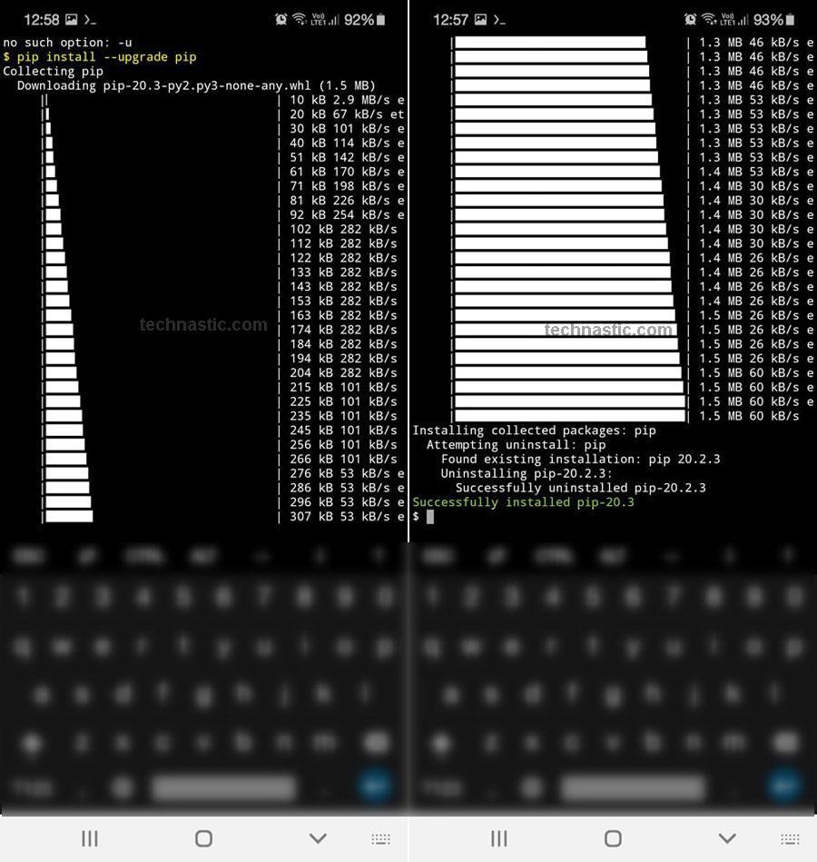 upgrade pip via termux android