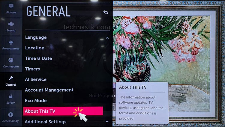 lg smart tv about this tv