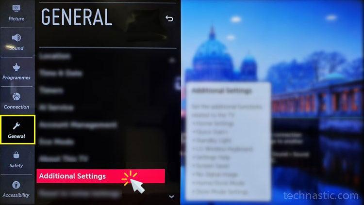 lg smart tv general settings