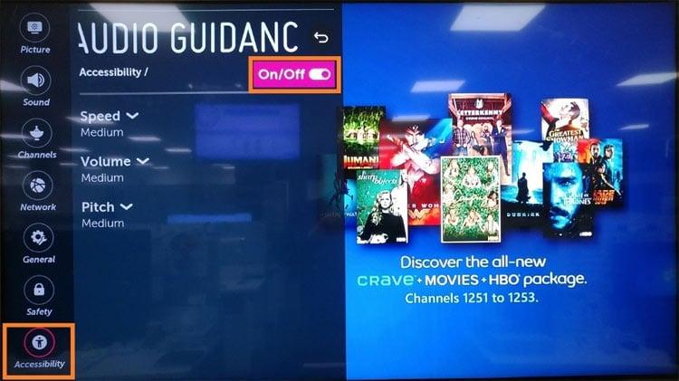 lg smart tv audio guidance