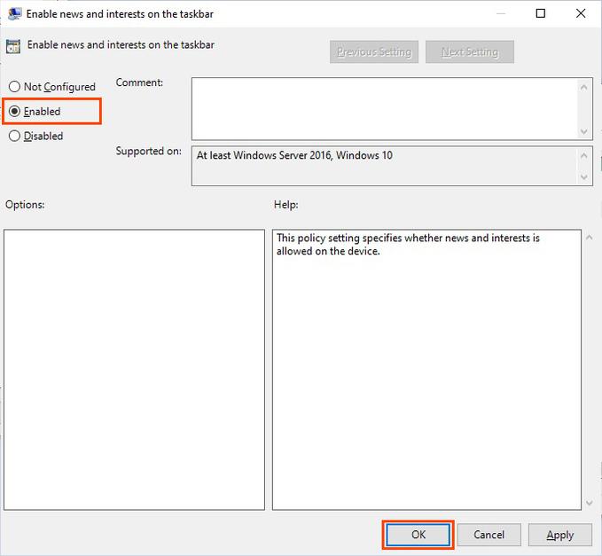 show or hide weather in Windows 10 Taskbar