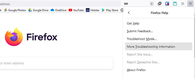 Firefox Help menu
