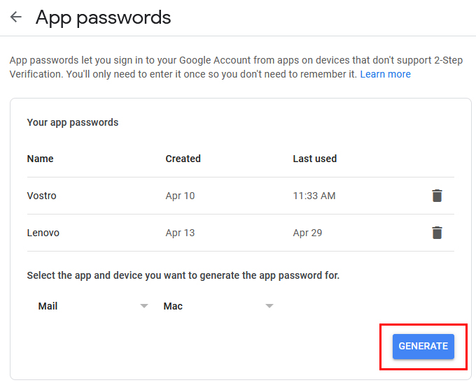 Generate application specific password on Google