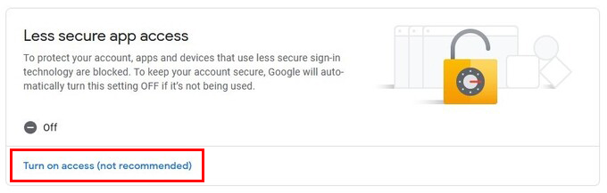less secure app access google account security