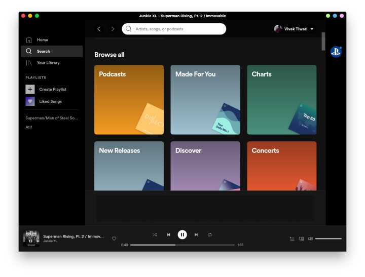 Official Spotify desktop client for linux