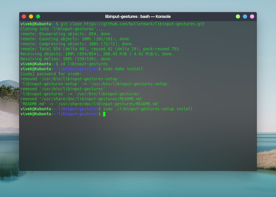 install libinput-gestures on Ubuntu