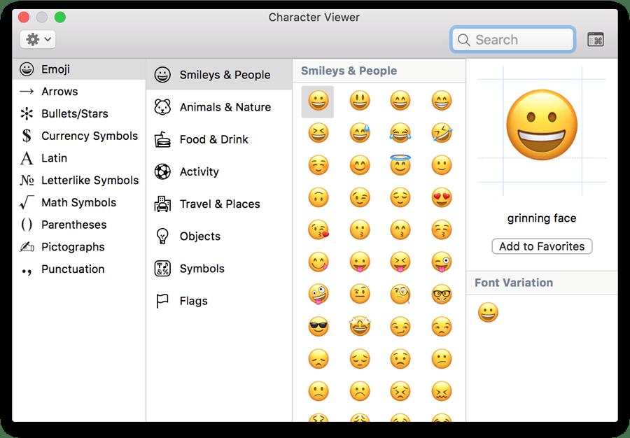 mac os emoji symbols and special character