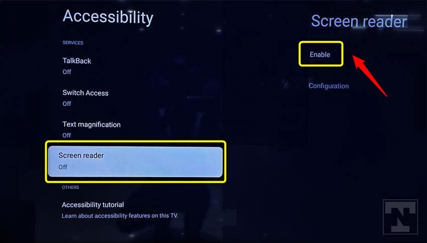 disable sony tv screen reader