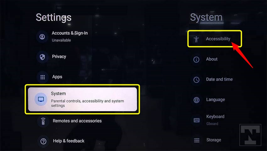 sony android tv system settings